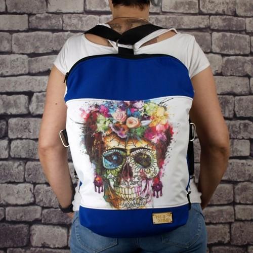 Bolso Mochila Impermeable Calavera Frida en color Azul portada